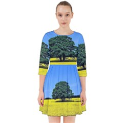 Tree In Field Smock Dress