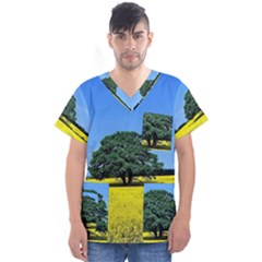 Tree In Field Men s V Neck Scrub Top