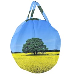 Tree In Field Giant Round Zipper Tote