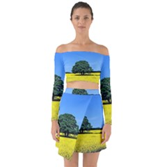 Tree In Field Off Shoulder Top With Skirt Set