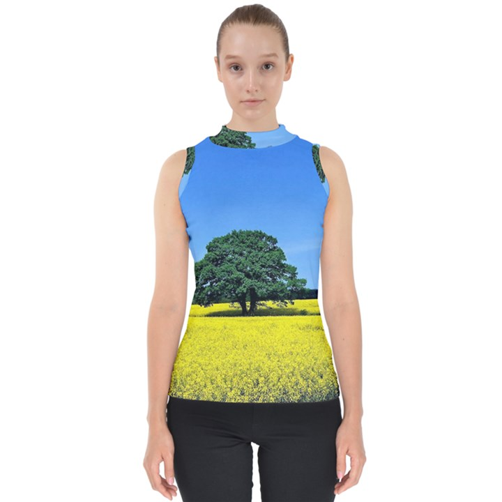 Tree In Field Mock Neck Shell Top