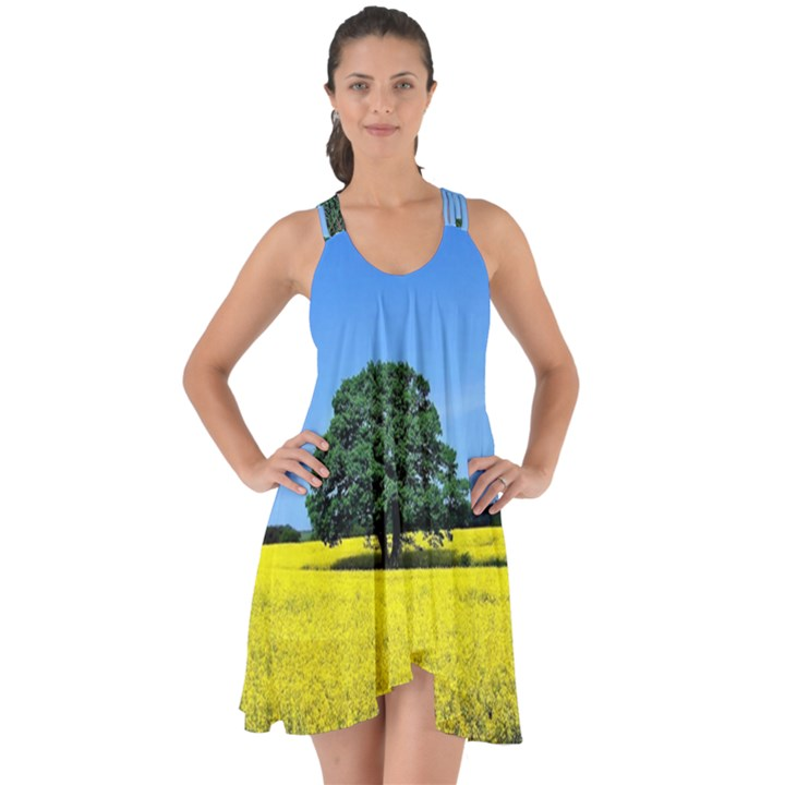 Tree In Field Show Some Back Chiffon Dress