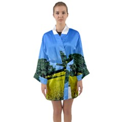 Tree In Field Long Sleeve Kimono Robe