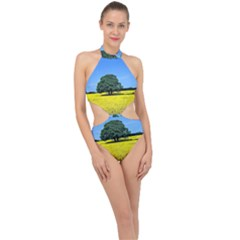 Tree In Field Halter Side Cut Swimsuit