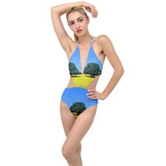 Tree In Field Plunging Cut Out Swimsuit