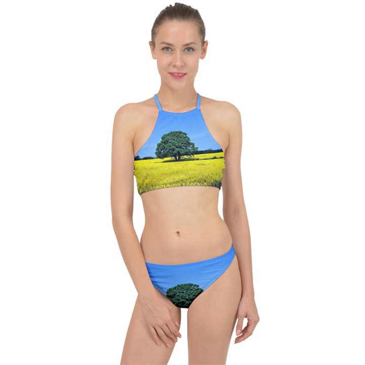 Tree In Field Racer Front Bikini Set