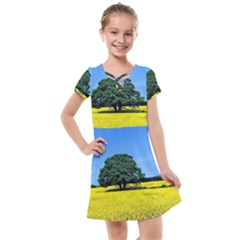 Tree In Field Kids  Cross Web Dress