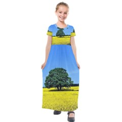 Tree In Field Kids  Short Sleeve Maxi Dress