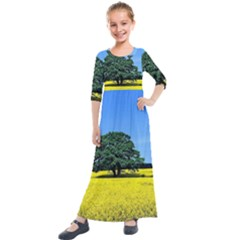 Tree In Field Kids  Quarter Sleeve Maxi Dress