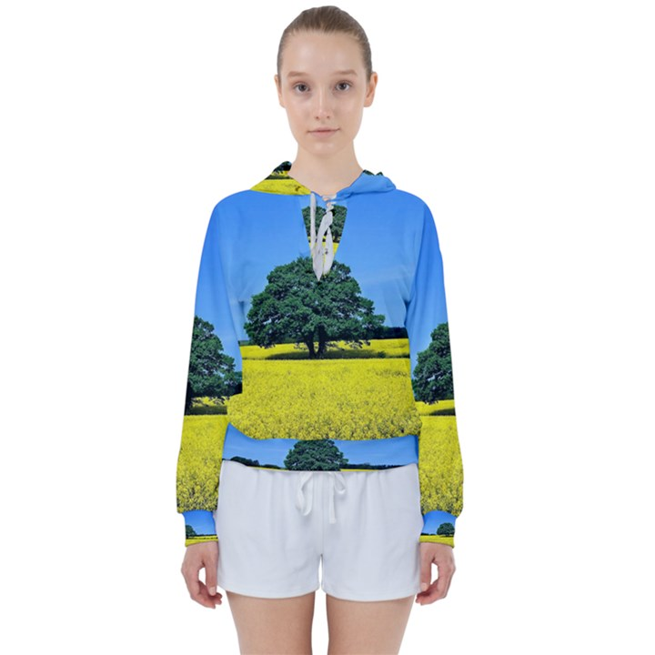 Tree In Field Women s Tie Up Sweat