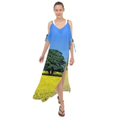 Tree In Field Maxi Chiffon Cover Up Dress