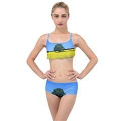 Tree In Field Layered Top Bikini Set