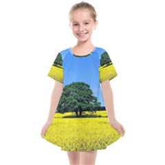 Tree In Field Kids  Smock Dress