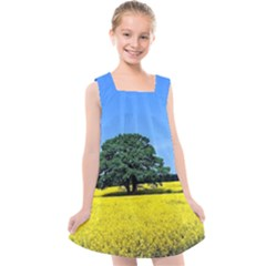 Tree In Field Kids  Cross Back Dress