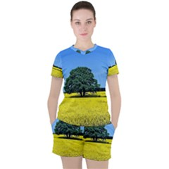 Tree In Field Women s Tee And Shorts Set