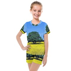 Tree In Field Kids  Mesh Tee And Shorts Set