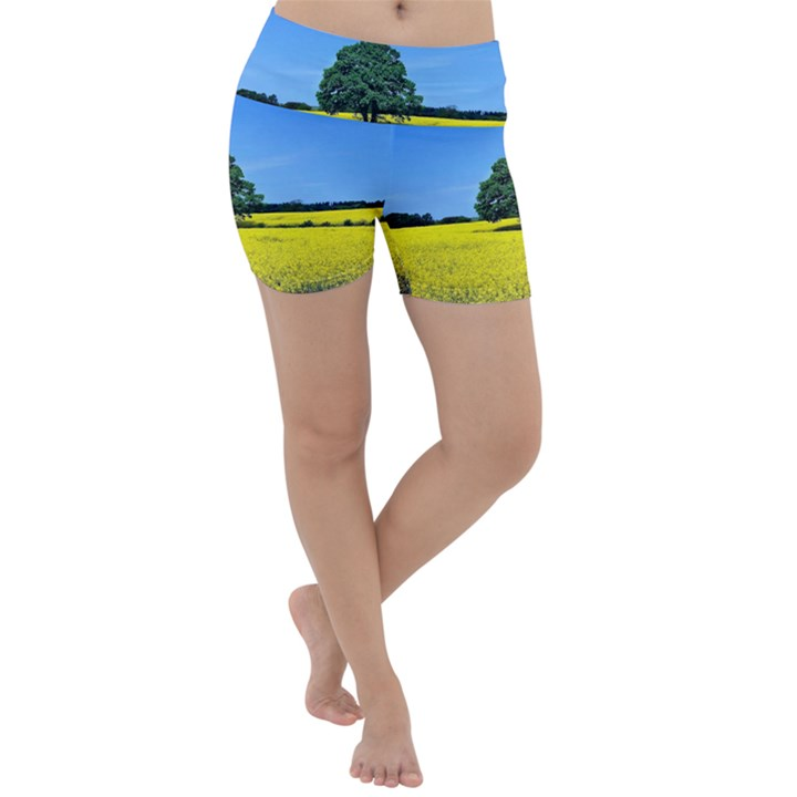 Tree In Field Lightweight Velour Yoga Shorts