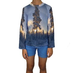 Winter Sunset Pine Tree Kids  Long Sleeve Swimwear
