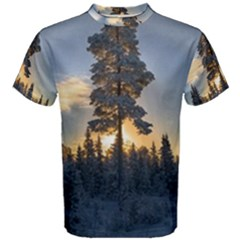 Winter Sunset Pine Tree Men s Cotton Tee