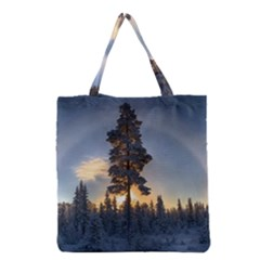 Winter Sunset Pine Tree Grocery Tote Bag