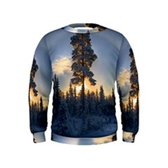 Winter Sunset Pine Tree Kids  Sweatshirt