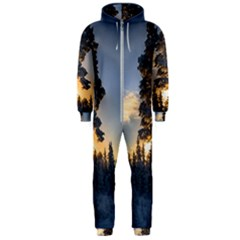 Winter Sunset Pine Tree Hooded Jumpsuit (men)