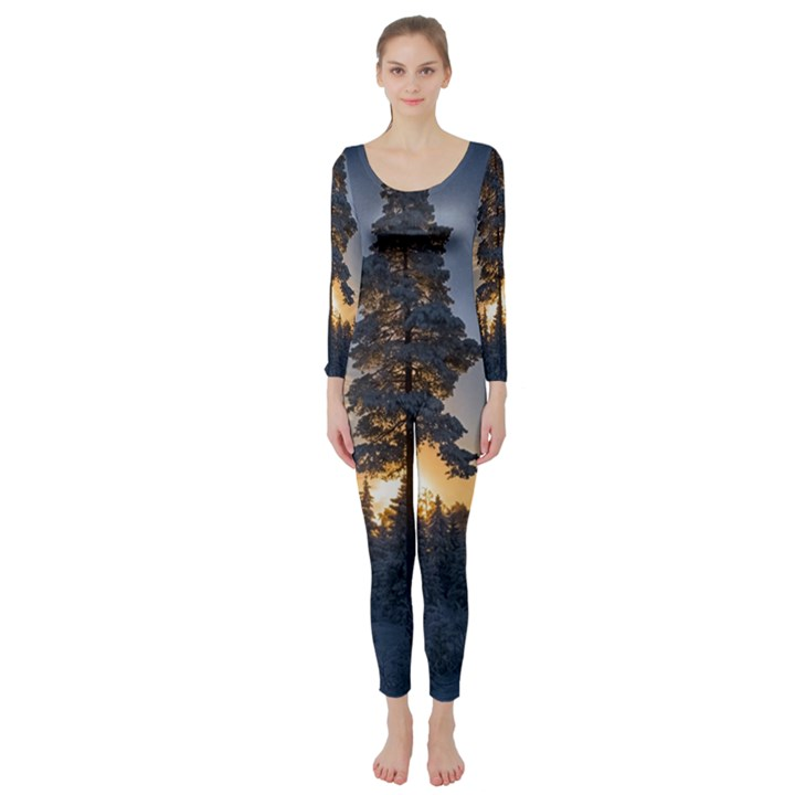 Winter Sunset Pine Tree Long Sleeve Catsuit