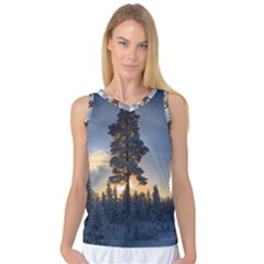 Winter Sunset Pine Tree Women s Basketball Tank Top