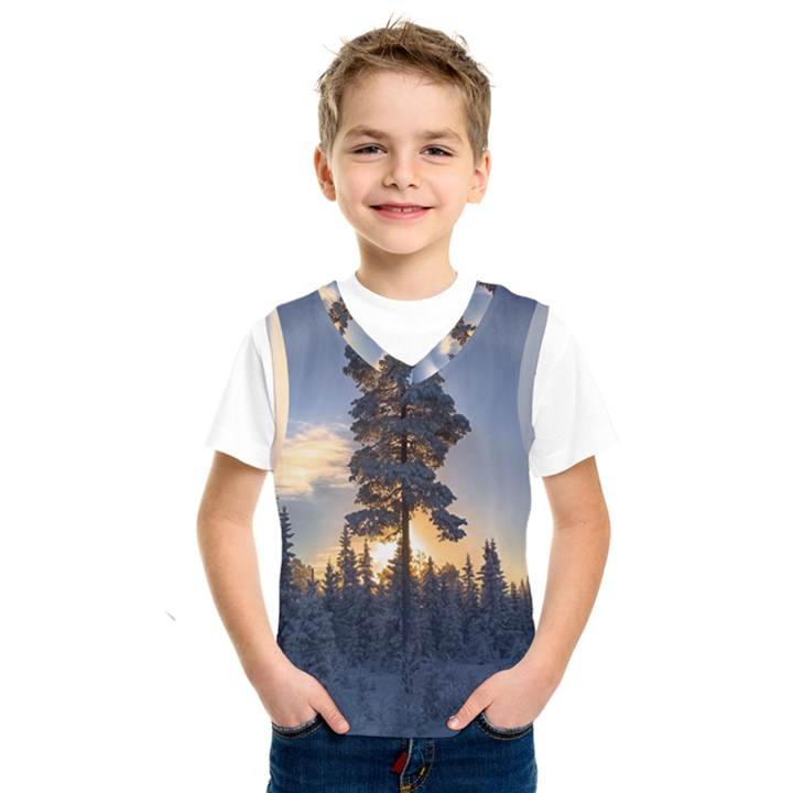 Winter Sunset Pine Tree Kids  SportsWear