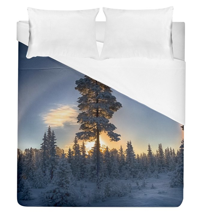 Winter Sunset Pine Tree Duvet Cover (Queen Size)