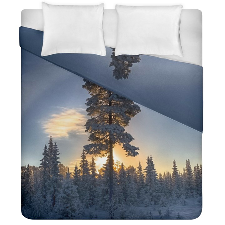 Winter Sunset Pine Tree Duvet Cover Double Side (California King Size)