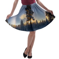 Winter Sunset Pine Tree A Line Skater Skirt