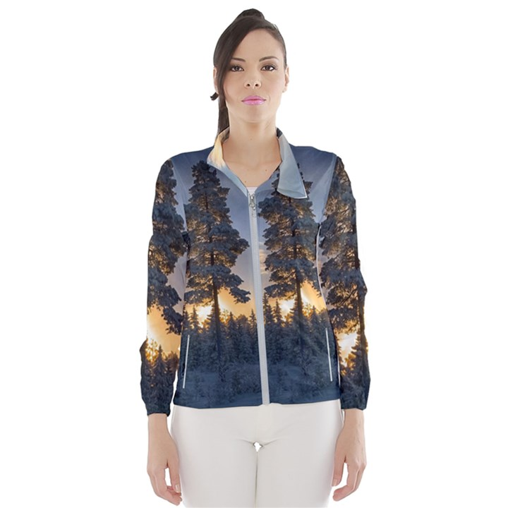 Winter Sunset Pine Tree Windbreaker (Women)