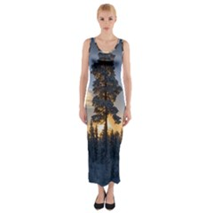 Winter Sunset Pine Tree Fitted Maxi Dress