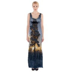 Winter Sunset Pine Tree Maxi Thigh Split Dress