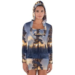 Winter Sunset Pine Tree Long Sleeve Hooded T Shirt