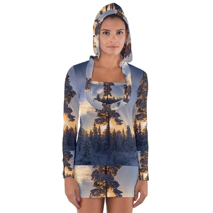 Winter Sunset Pine Tree Long Sleeve Hooded T-shirt