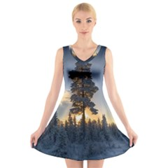 Winter Sunset Pine Tree V Neck Sleeveless Dress