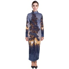 Winter Sunset Pine Tree Turtleneck Maxi Dress