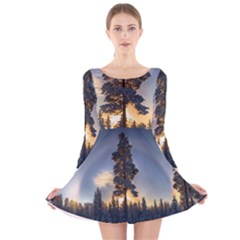Winter Sunset Pine Tree Long Sleeve Velvet Skater Dress