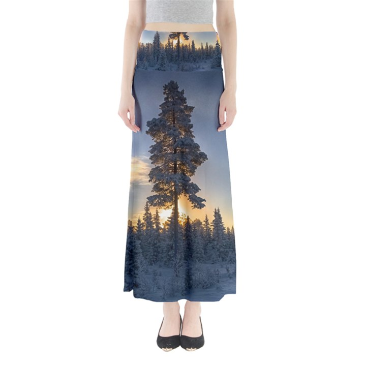 Winter Sunset Pine Tree Full Length Maxi Skirt