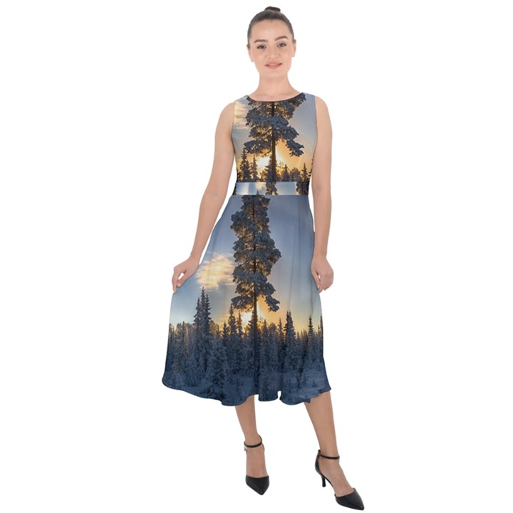 Winter Sunset Pine Tree Midi Tie-Back Chiffon Dress