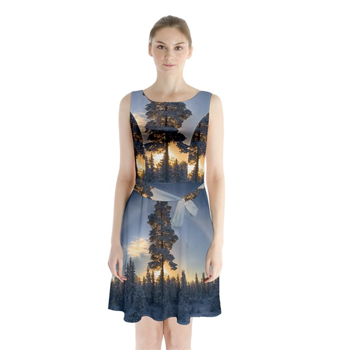 Winter Sunset Pine Tree Sleeveless Waist Tie Chiffon Dress