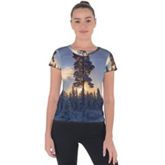Winter Sunset Pine Tree Short Sleeve Sports Top