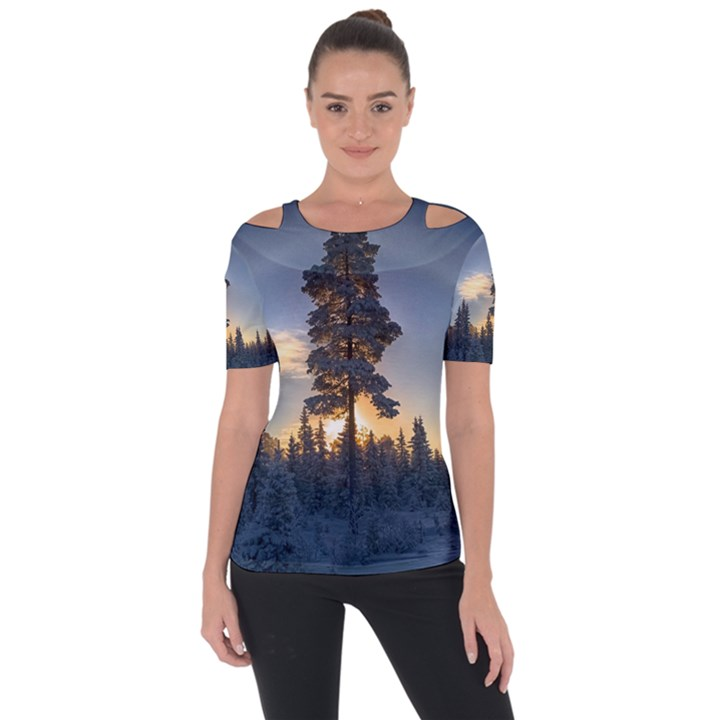 Winter Sunset Pine Tree Shoulder Cut Out Short Sleeve Top