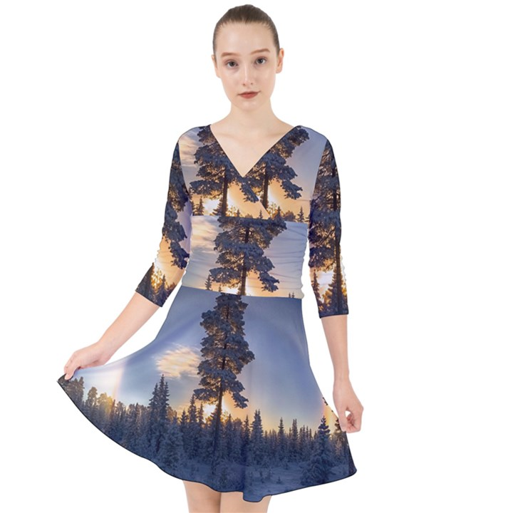 Winter Sunset Pine Tree Quarter Sleeve Front Wrap Dress