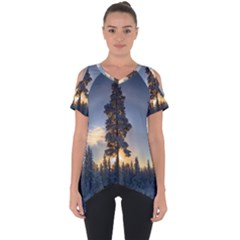 Winter Sunset Pine Tree Cut Out Side Drop Tee