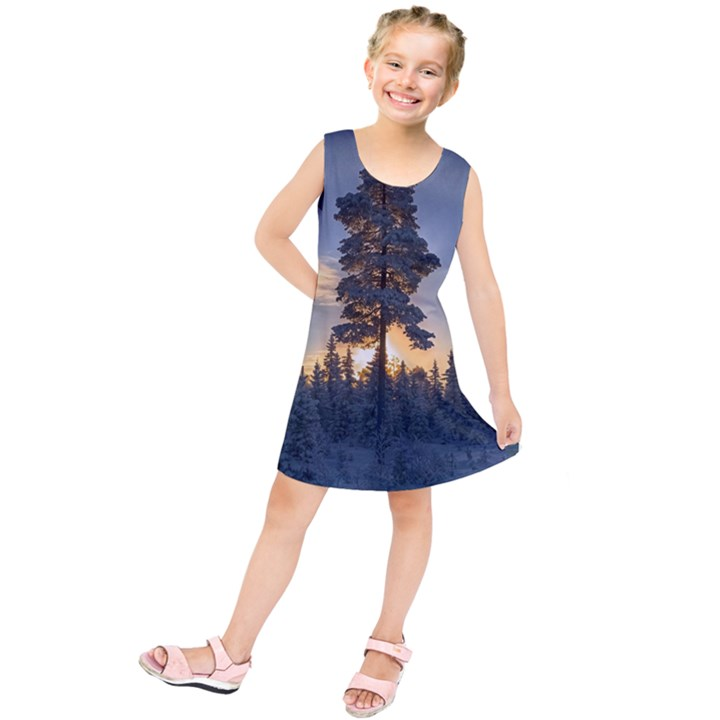 Winter Sunset Pine Tree Kids  Tunic Dress