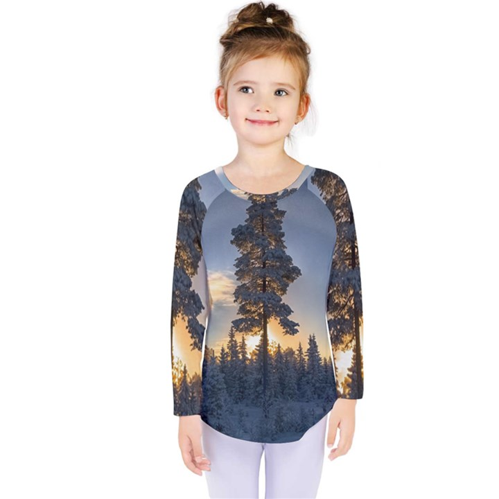 Winter Sunset Pine Tree Kids  Long Sleeve Tee