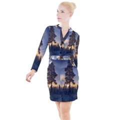 Winter Sunset Pine Tree Button Long Sleeve Dress